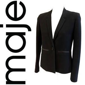 MAJE black textured blazer with leather trim